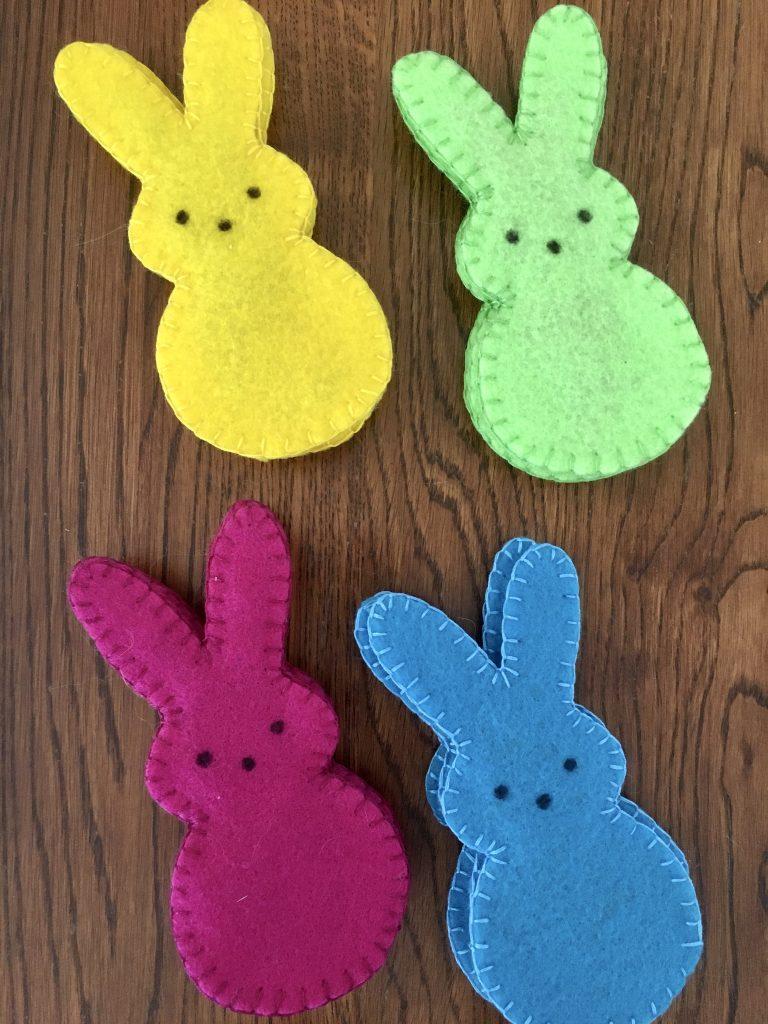 Set of bunny catnip toys